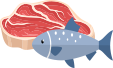 enfabebe icono dibujo carne roja y pescado, zinc