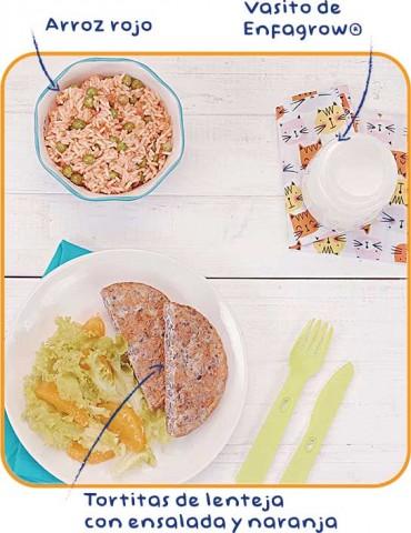 Tortitas de lenteja con ensalada
